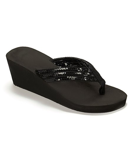 282fad09e183a1 Tender Tootsies Black Sequin Wedge Flip-Flop