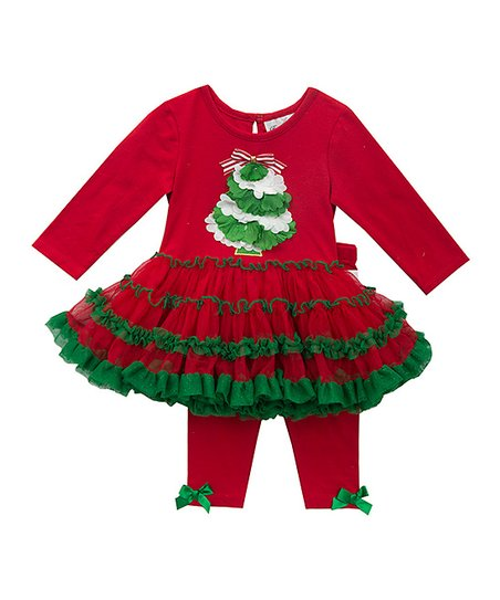 0d6e96a289b1 Rare Editions Red   Green Ruffle Tree Tutu-Dress   Leggings - Infant ...