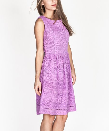 7b09b9d9af love this product Purple Lace Fit   Flare Dress - Women