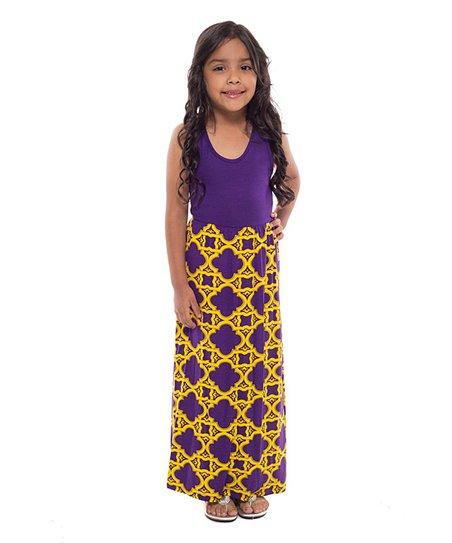 Purple and Gold Maxi Dress