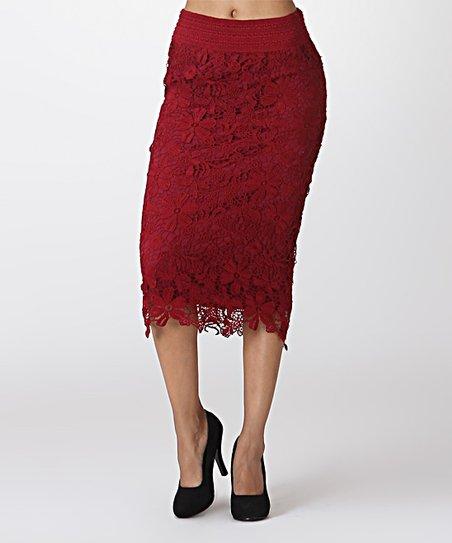 bca9b1b2e938e LARA Fashion Burgundy Lace Pencil Skirt | Zulily