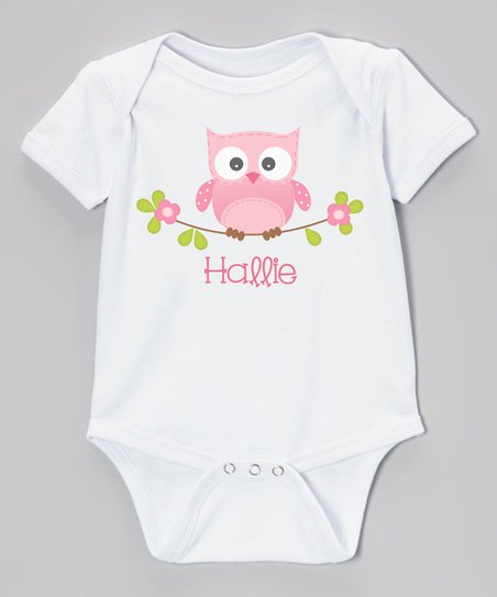 634015834 love this product White & Pink Owl on Branch Personalized Bodysuit - Newborn  & Infant