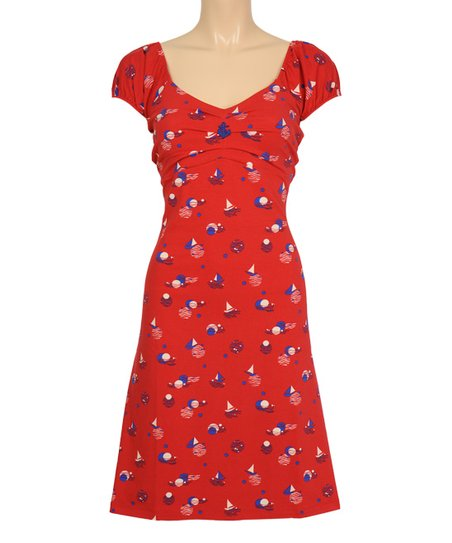 012a1d6febadc1 love this product Red Dolly Deauville Cap-Sleeve Dress