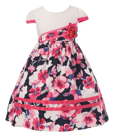 Richie House Purple Morning Glories Dress - Toddler & Girls