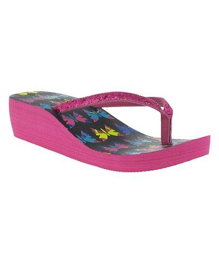 cd8c9216ec Capelli New York Black & Pink Glitter Platform Flip-Flop   Zulily
