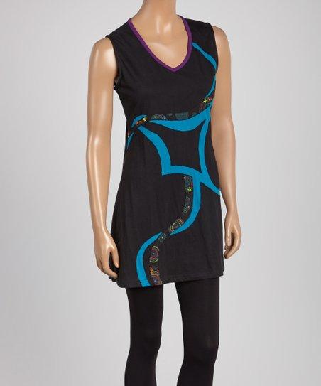 108cd803bdd Royal Handicrafts Turquoise Swirl V-Neck Tunic - Women | Zulily
