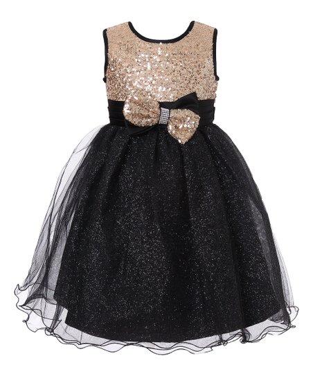 0eeee42b4ea0e Richie House Black & Gold Sequin Glitter Overlay Dress - Girls | Zulily