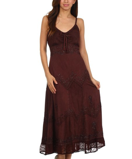 1c862d2c173a love this product Chocolate Embroidered Empire-Waist Maxi Dress