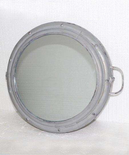 Gray Metal Porthole Mirror Cabinet