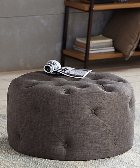 Remarkable Main Green Gray Tufted Round Ottoman Zulily Bralicious Painted Fabric Chair Ideas Braliciousco