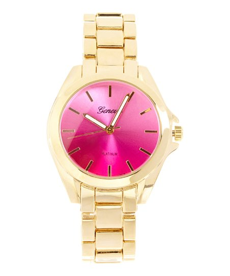 Goldtone & Pink Color Dial Watch