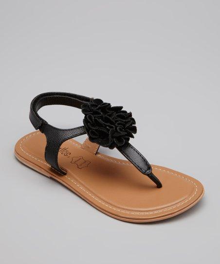 2c0b0c63d Pazitos Black Leather Flower Bunch Sandal