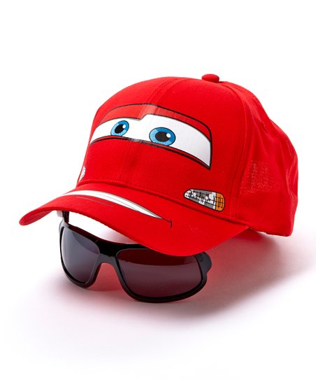 d45890bfaa4 Pixar Cars Lightning McQueen Baseball Cap   Flip-Down Sunglasses ...