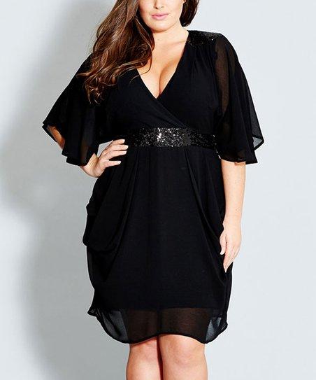 City Chic Black Sequin Wrap Dress Plus Zulily