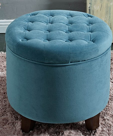 Prime Homepop Large Round Blue Button Tufted Storage Ottoman Ocoug Best Dining Table And Chair Ideas Images Ocougorg