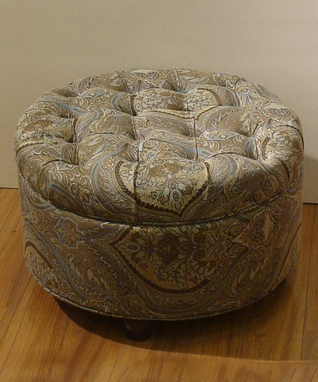 Cool Homepop Brown Teal Paisley Button Tufted Round Storage Ottoman Andrewgaddart Wooden Chair Designs For Living Room Andrewgaddartcom