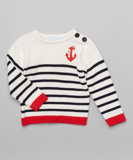 22539021906c Powell Craft White   Red Stripe Anchor Sweater - Infant