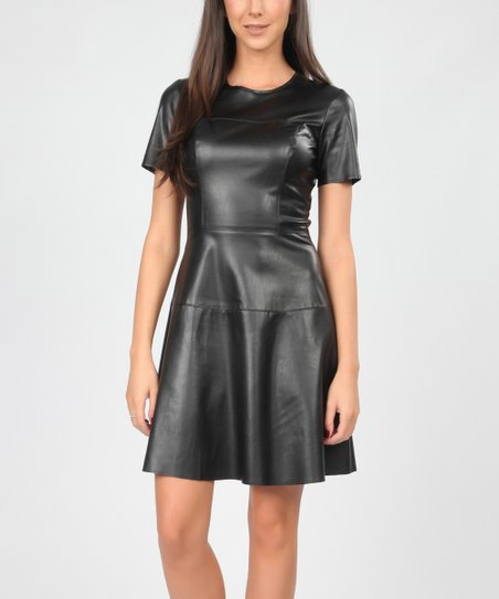 Carla Giannini Black Faux Leather Skater Dress  81c6b8601