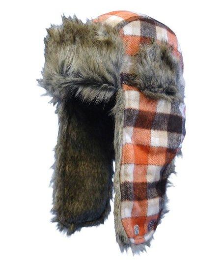 love this product Orange   Cream Plaid Faux Fur Trapper Hat c36b7306742