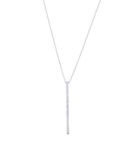 Swarovski Crystal White Gold Bar Pendant Necklace
