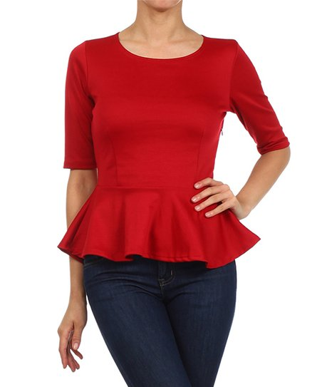 46e550c7673a20 J-Mode USA Los Angeles Red Peplum Top - Plus