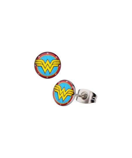 66858bd8e SalesOne International Wonder Woman Logo Round Ear Studs   Zulily