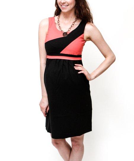 931658c55ba Debbi O. Maternity Coral   Black Color Block Wool-Blend Maternity ...