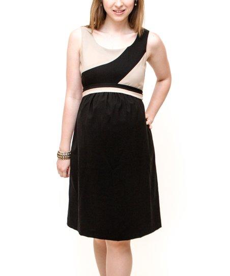 29781b7900e Debbi O. Maternity Khaki   Black Color Block Wool-Blend Maternity ...