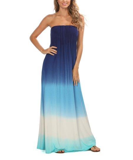 La Blanca Navy Ombre Dip Strapless Maxi Dress Women Zulily