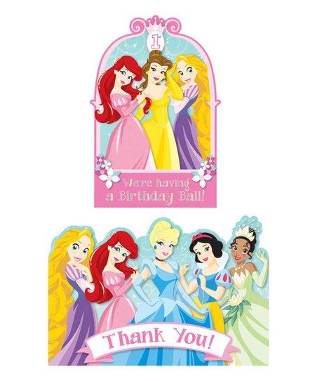 Disney Princess 1st Birthday Invitation Thank You Card Set