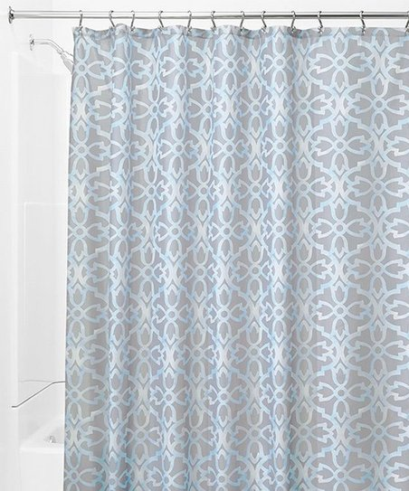 Gray Blue Geometric Shower Curtain