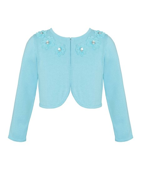 Light Blue Floral Crop Sweater Zulily