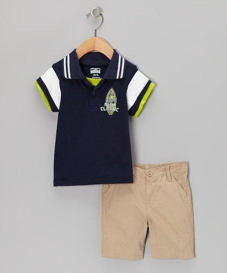 830c7df2 Little Rebels Navy Island Classic Polo & Khaki Shorts - Infant | Zulily