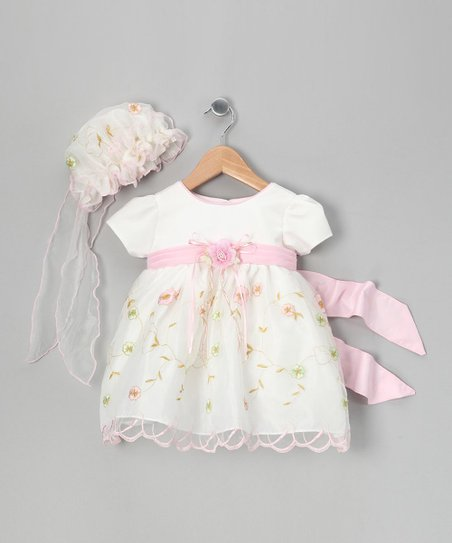 ce9a110b9dc0 love this product White   Pink Embroidered Dress   Bonnet - Infant