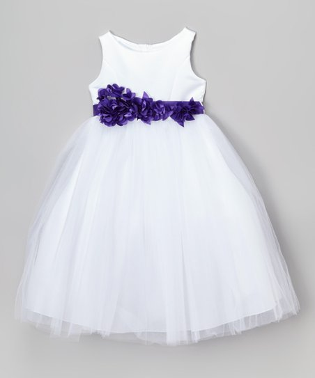 d911da95a2ca Cinderella Couture White   Purple Petal Sash Dress - Girls