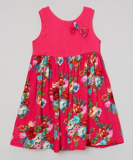 Hot Pink Floral Tank Dress - Infant