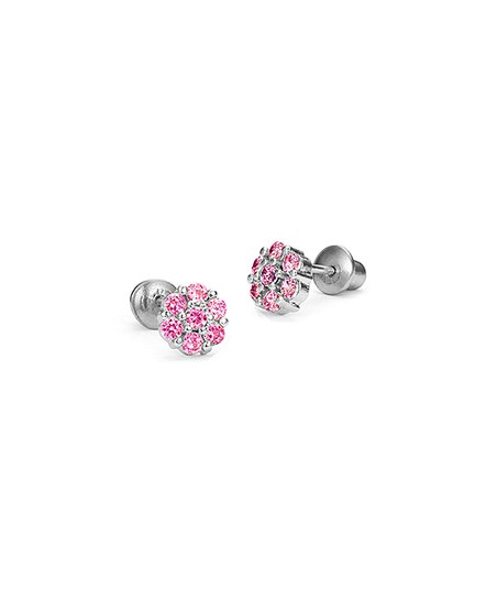 Pink Cubic Zirconia Sterling Silver Flower Stud Earrings