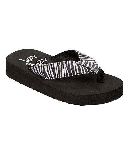 a2aa3641d love this product Black   White Zebra Flip-Flop - Girls