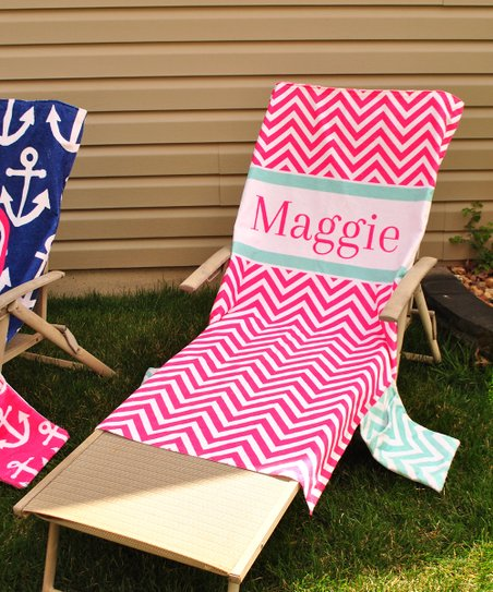 Amazing Swirl Designs Pink Chevron Personalized Lounge Chair Cover Gmtry Best Dining Table And Chair Ideas Images Gmtryco