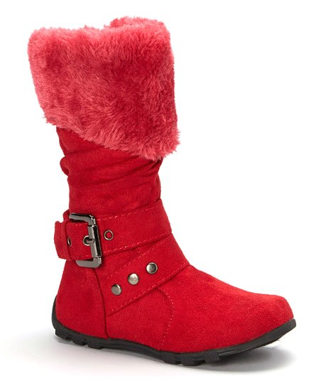 7ea6d9c17 love this product Red Fuzzy Collar Bella Boot - Girls