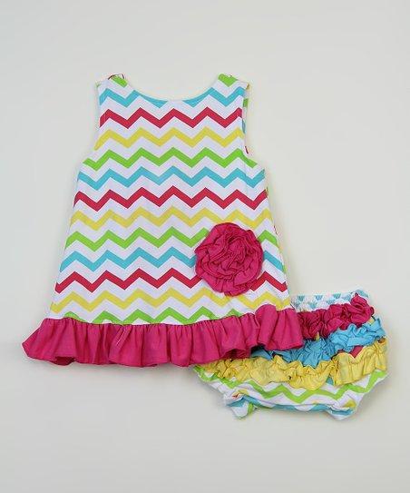 c5c9d692360e love this product Rainbow & Fuchsia Chevron Swing Top & Diaper Cover -  Newborn