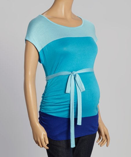 d963eec7f83da love this product Aqua & Turquoise Ruched Tie-Waist Maternity Top - Women