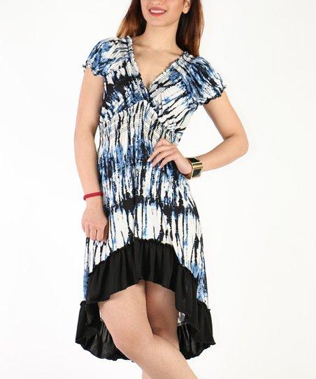 a982f500b47b love this product Blue & White Tie-Dye Empire-Waist Hi-Low Dress - Plus
