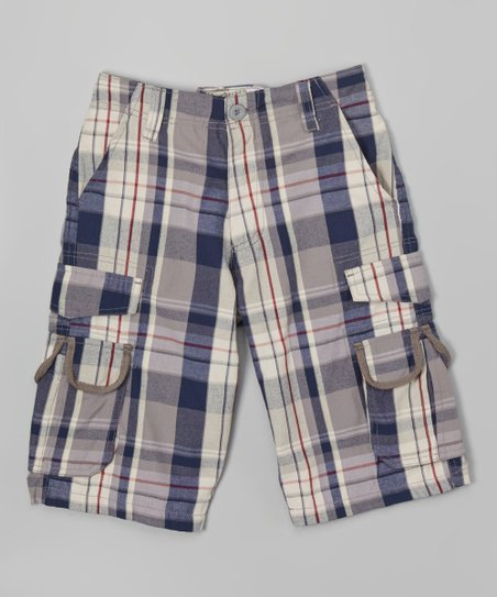 727a517fa6 Overdrive Navy Plaid Cargo Shorts - Boys | Zulily