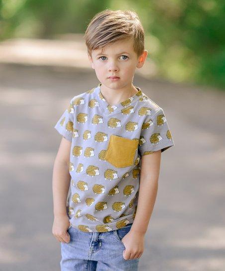 7de91114 Taylor Joelle Designs Gold Hedgehog Pocket Tee - Toddler & Boys   Zulily