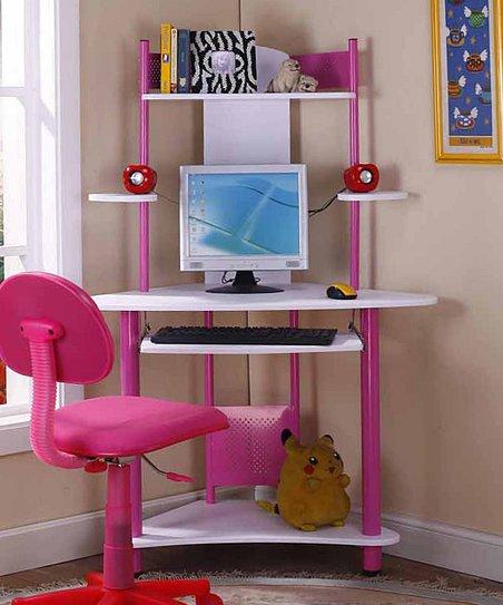 K B Furniture Pink Kids Corner Desk, Pink Corner Desk