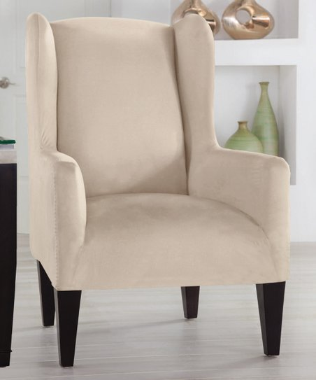 Perfect Fit Industries Ivory Stretch-Fit Wingback Chair Slipcover ... 070f53bb7