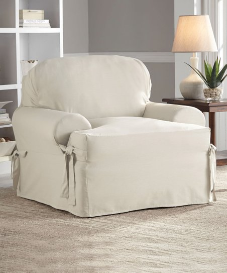 Perfect Fit Industries Natural Relaxed Fit T Cushion Chair Slipcover
