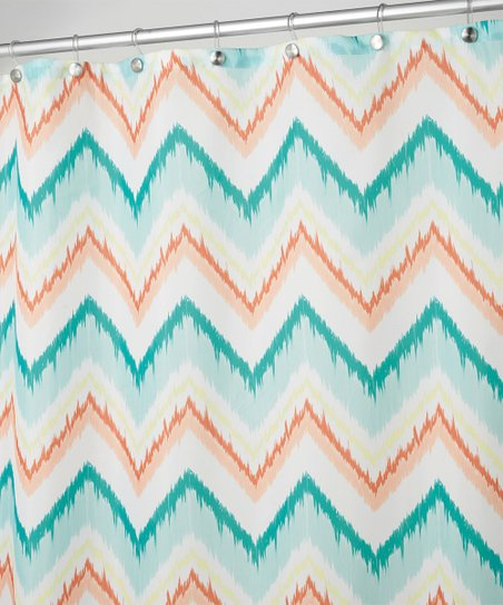 Coral Teal Ikat Chevron Shower Curtain