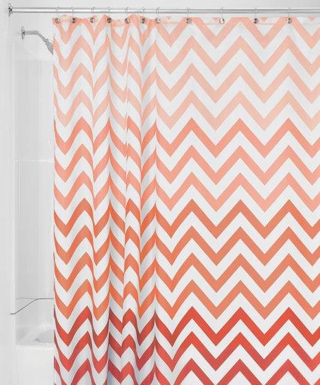 Coral White Ombre Chevron Shower Curtain